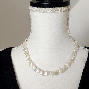 Vintage 12 mm rainbow white coin Pearl necklace
